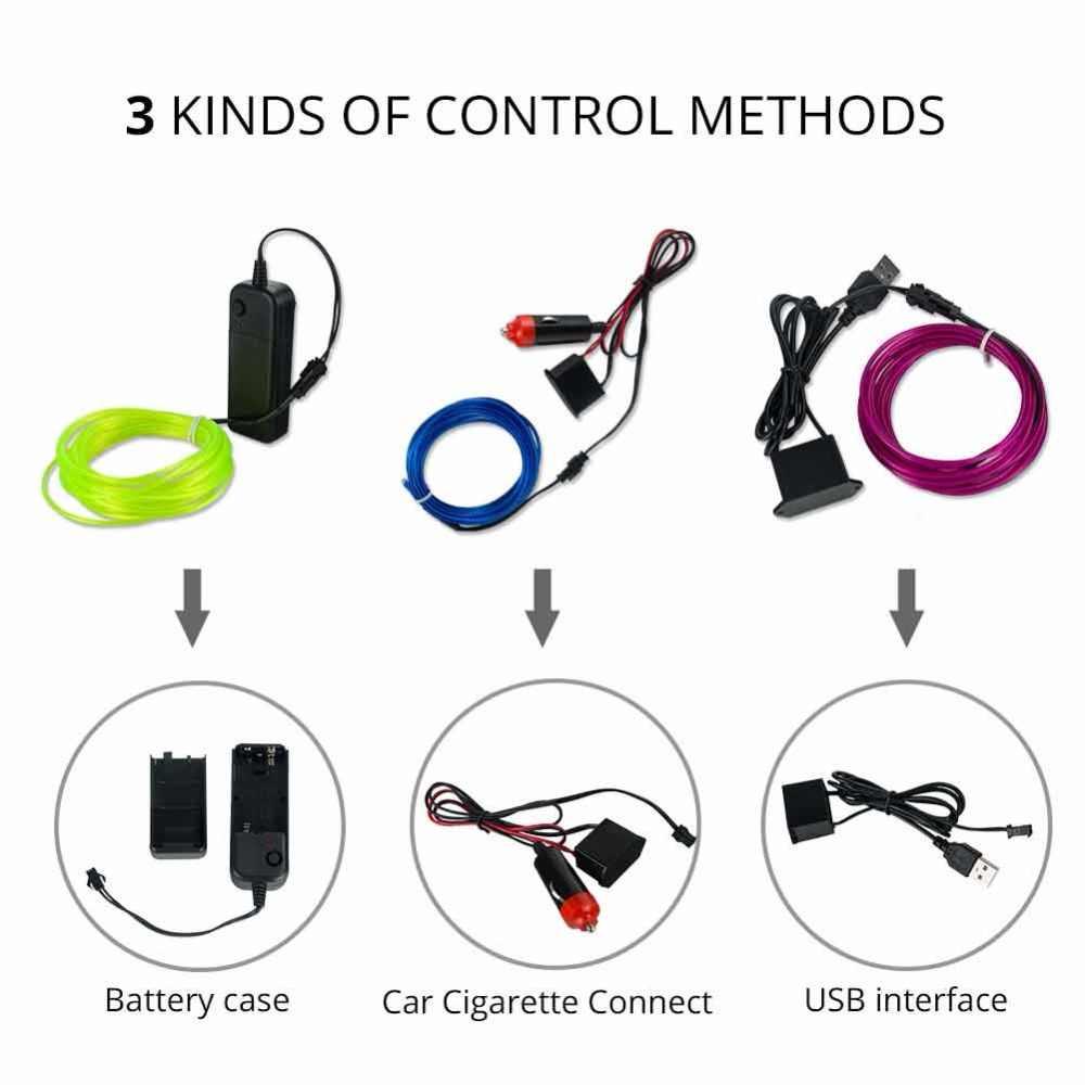 1 m 2 m 3 m 4 m 5 m Neon EL Kawat Cahaya 3 Mode 10 warna LED Jalur Cahaya dengan Controller Untuk Mobil Dance Party Sepeda Dekorasi pencahayaan