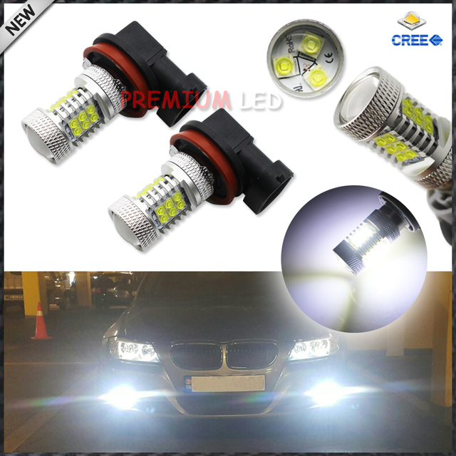 6000K Ultra White High Power 21-SMD CRE'E H11 H8 LED Replacement Bulbs For Fog Lights Driving Lamps or Daytime Running Lights