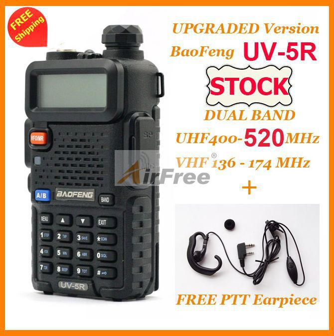 imágenes para 2 sets original baofeng uv-5r de banda dual de jamón de radio 136-174/400-520 mhz uhf vhf pofung uv-5r walkie talkie con free auricular