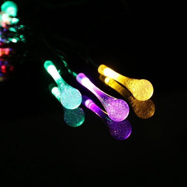 Solar Outdoor String Lights, Water Drop Solar String Fairy Waterproof Lights Christmas Lights Patio Garland Street Decor Light