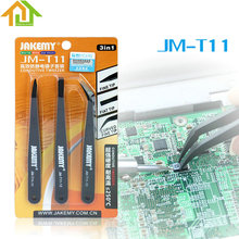 3pcs JAKEMY JM-T11 Fix Repair Tool Kit  Triad Anti-static Tweezers Set for iPhone Smartphone Tablets Electronic Components