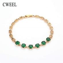 CWEEL Cubic Zirconia Bracelets For Women Chain Green Austrian Imitation Crystal Metal