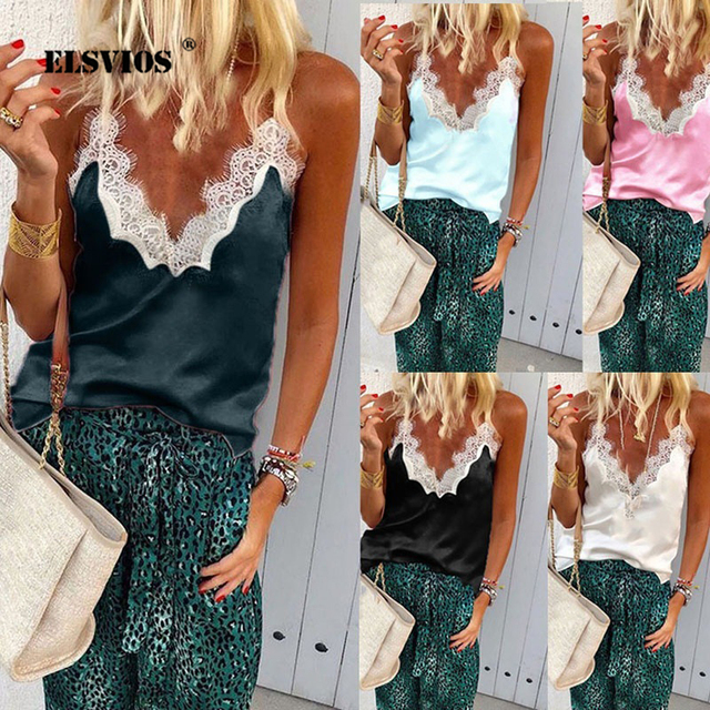 4ff10eb63350 ELSVIOS 3XL Women Deep V-neck Lace Patchwork Chiffon Shirt Sleeveless Strap  Summer Sexy T Shirt Casual Streetwear Tops Plus Size