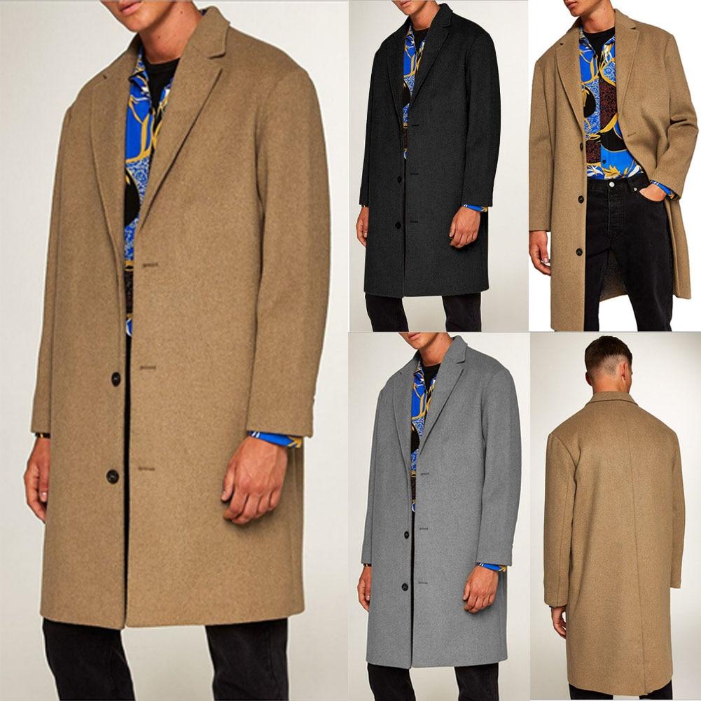 2019 New Fashion Men's Wool Coat Winter Trench Coat Outwear Overcoat Long Sleeve Jacket Trench M-3XL