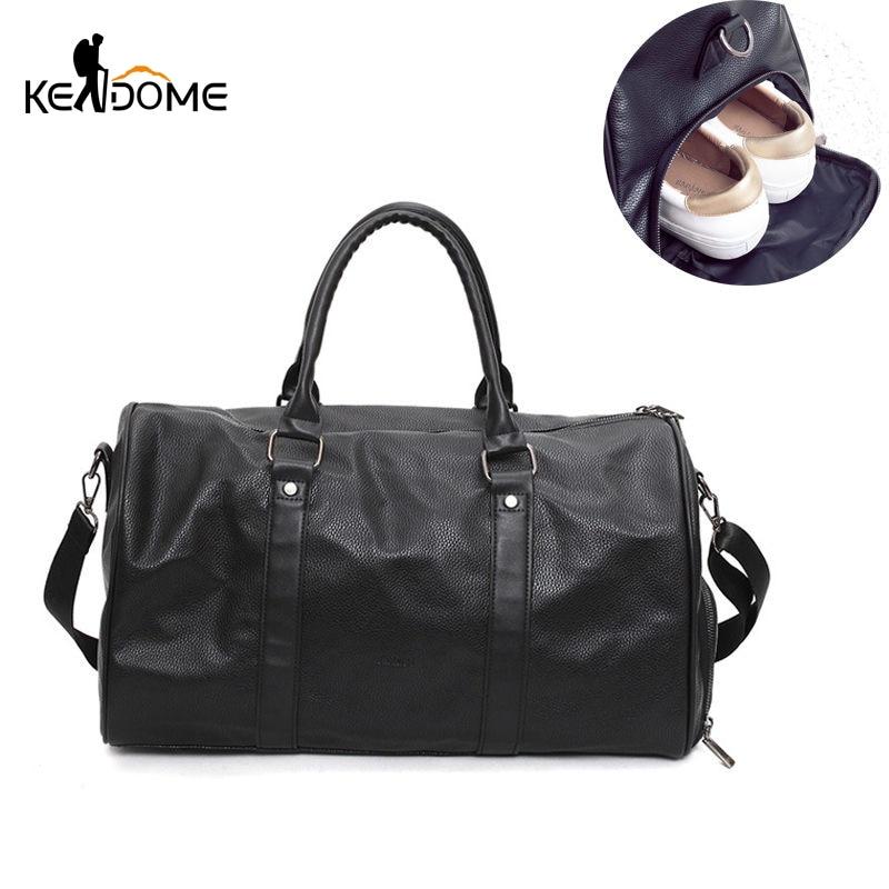 Черный кожаный спортивная сумка большой для Для женщин Фитнес открытый Для мужчин гимнастические Сумки для Обувь Сумки над плечо xa366wd