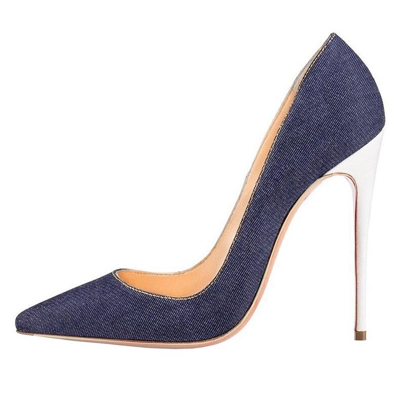 8f3d5652262 12 Deep Bout Talon Moraima Blue Blue light Pour Mince Pointu Aiguilles Sexy  Chaussures Talons Femme Denim ...