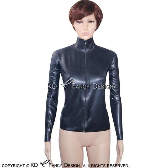 Black Sexy Latex Jacket With Zipper At Front Long Sleeves High Collar Rubber Coat Top YF-0021