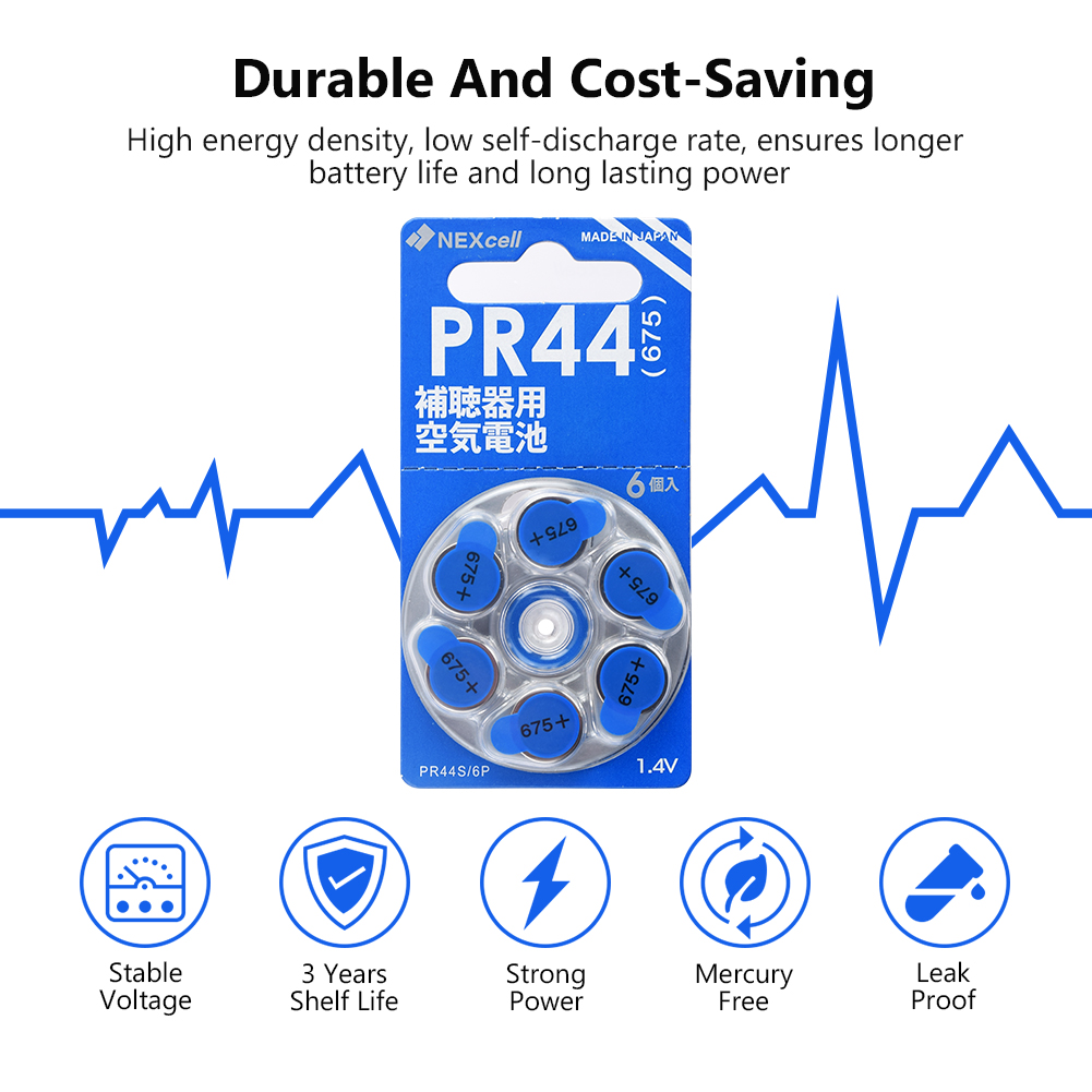 60 PCS NEW Zinc Air 1 4V High Quality ZA675 Zinc Air Button Cell Hearing Aid Batteries 675A A675 675 PR44 Hearing Aid Battery in Button Cell Batteries from Consumer Electronics