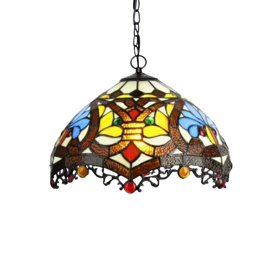 Yellow Europe Home Baroque Art Deco Stained Glass Tall Chain Hang Led Nordic Pendant Lamp Light Cafe Table Lighting Decorative deco glass ваза для цветов стрекоза d04033 0240 0306al