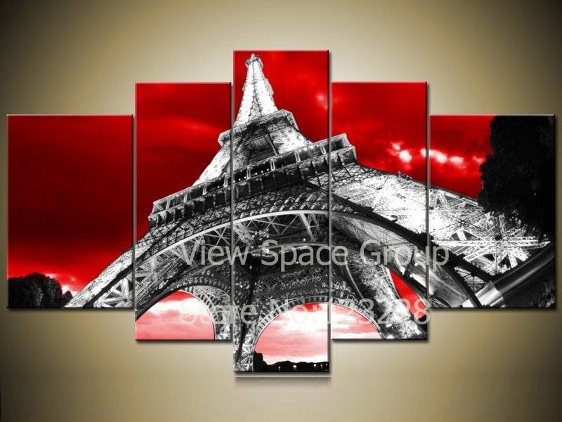 The Paintings Of Eiffel Tower Scenery Paris Black And Red Wall Decor Picture City Places Interest Ap00237 In Painting Calligraphy
