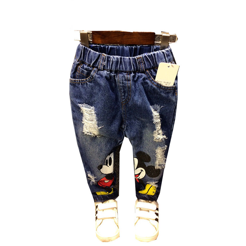 Gilrs Jeans  Minnie Mouse Kids Jeans Cartoon Print Children Jeans for Baby Boys Ripped Denim Pant Cowboy Bebe Jeans