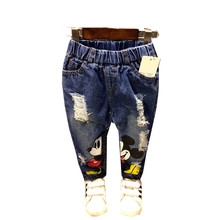 Gilrs Jeans Minnie Mouse Kids Jeans Cartoon Print Children Jeans for Baby Boys Ripped Denim Pant