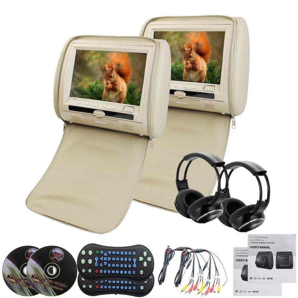 9 ЖК дисплей бежевый пара подголовник автомобиля Подушка мониторы dvd плеер USB SD 32 бит игры Ziper Обложки + 2 Беспроводной инфракрасные наушники