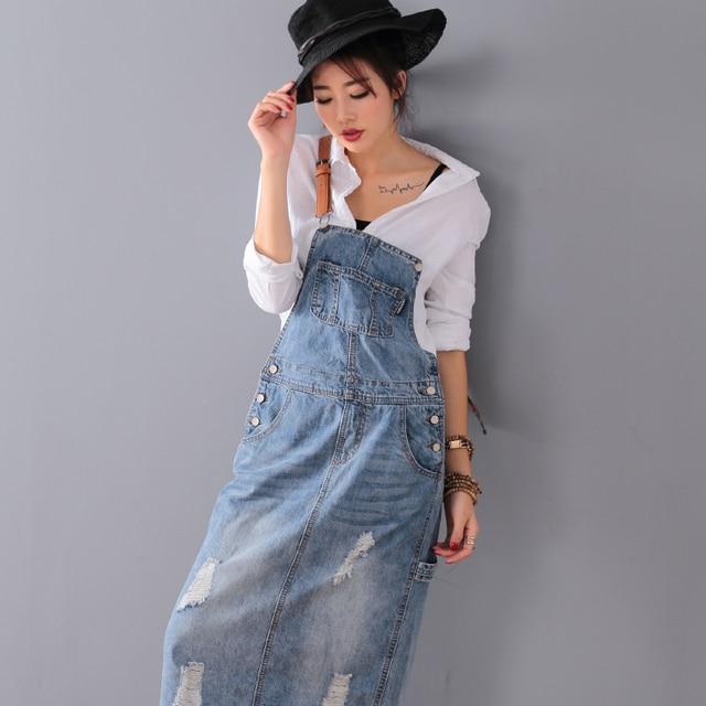 Fashion Maxi Denim Dress Summer Ladies Suspenders Holes Jean Dresses Female Loose Plus Size 5XL Bib Blue cowboy Long Dress 8075 2
