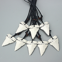 12pcs White Resin Faux Yak Bone Shark Tooth Teeth Pendant Necklace Adjustable Surfer Gift
