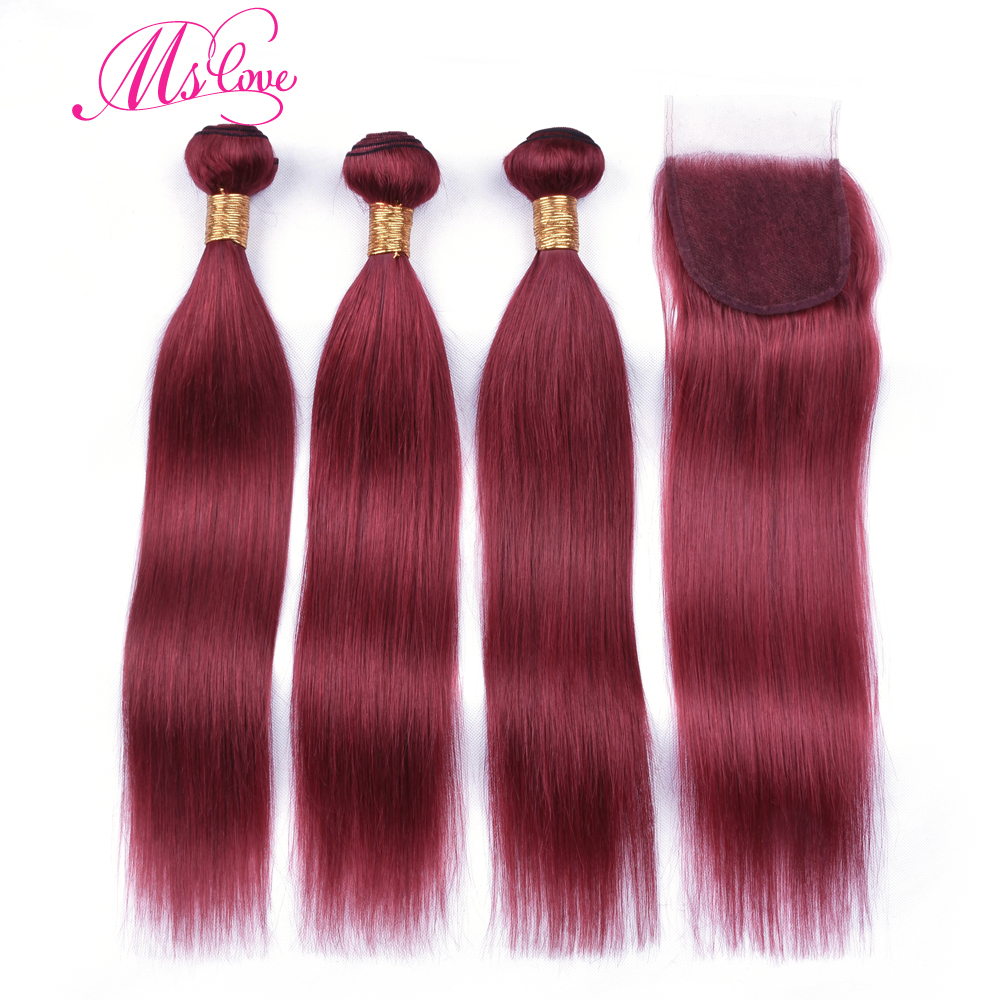 Ms Love Pre Colored Burgundy Bundles With Closure Brazilian Straight Hair Bundles With Closure Remy Human Hair With Closure 4*4
