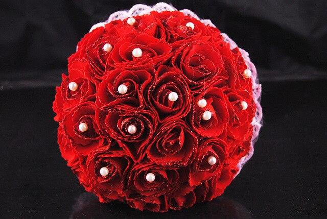 l gant artificielle bouquets de mariage perles rose rouge. Black Bedroom Furniture Sets. Home Design Ideas