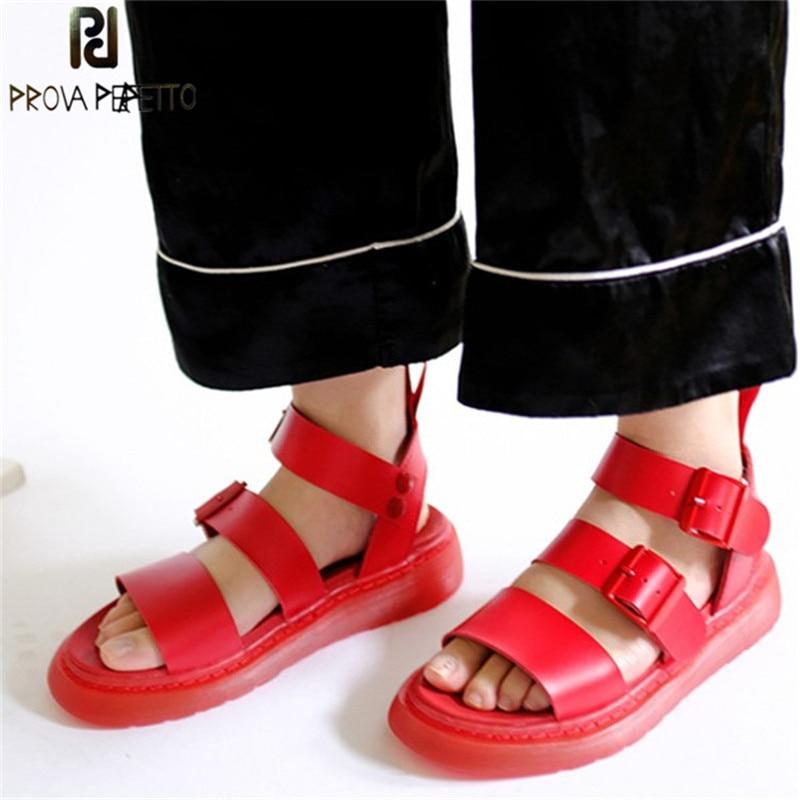 Ayakk.'ten Orta Topuklu'de Prova Perfetto Yeni Severler Sandalet Nötr Gerçek Deri Düz Topuk Sandalet Zapatos Mujer Tacon Gladyatör Sandalet Yaz Ayakkabı Kadın'da  Grup 1