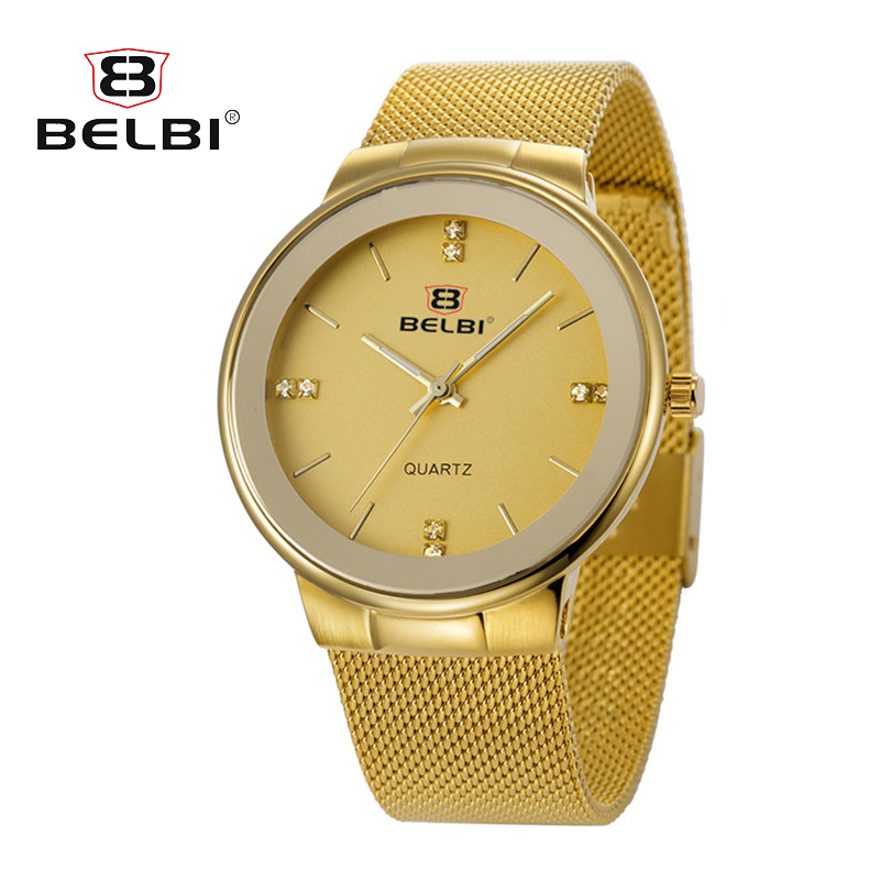 Fashion Simple Crystal Luxury Brand BELBI Watches Men Stainless Steel Mesh Strap Thin Dial Clock Man Casual Quartz-watch Gold fashion simple style top luxury brand longbo watches men stainless steel wristwatches quartz watch big gold dial clock man watch