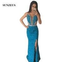 Синий кружевная юбка для выпускного платья Длинные Полые талии Тюль Sexy Платья для вечеринок блестящие бисером платье на выпускной с блестк