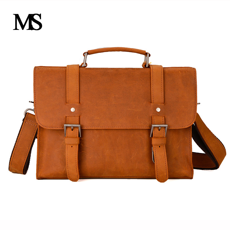 MS Crazy Horse Genuine Leather Men Bag Leather Laptop Bag Messenger Bags Shoulder Crossbody Bags Men Briefcases Handbag TW2012 ms crazy horse genuine leather men bag men s leather bag men messenger bags shoulder crossbody bags man handbag briefcase tw2011