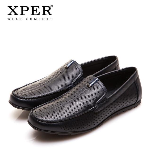 2017 XPER מותגי אופנה הגברים דירות גברים נעליים מזדמנים להחליק על ופרס גברים כחולים שחורים לנשימה גודל גדול YWD86130BU Comfor/BL
