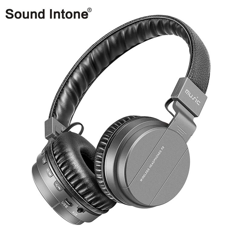 bilder für Sound Intonieren P2 + Wireless Bluetooth Kopfhörer Mit Mic Tf-karte FM Radio Stereo Ohr Bluetooth Headsets Für handys TV