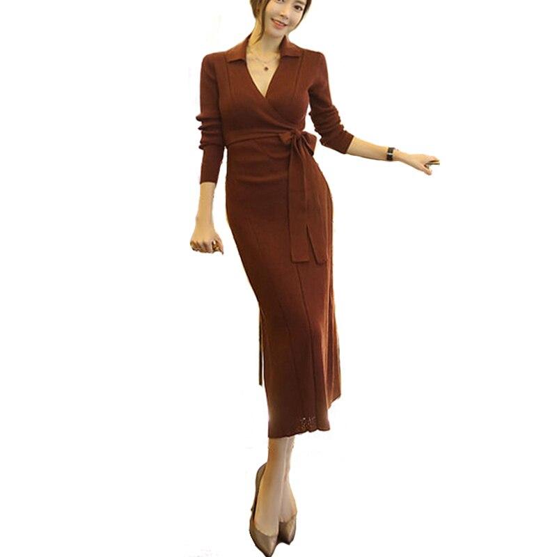 Ceintures pull tricoté robe pour les femmes d'hiver Slim manches Bandage Long pull robes taille haute profonde V Bow pull robe nouveau