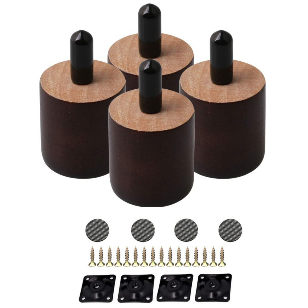 4Pcs 38mm Height 35mm Dia Round Brown Wooden Home Furniture Legs Feet M8x20mm Thread Cabinet Table Chair Couch Feet