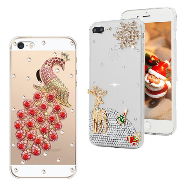 new concept 192a8 4a111 US $3.82 15% OFF|For iPhone 6 6s Plus case Fashion Diy design peacock  Rhinestone Case phone cover For iPhone XR XS Max case For iphone 7 8  Case-in ...