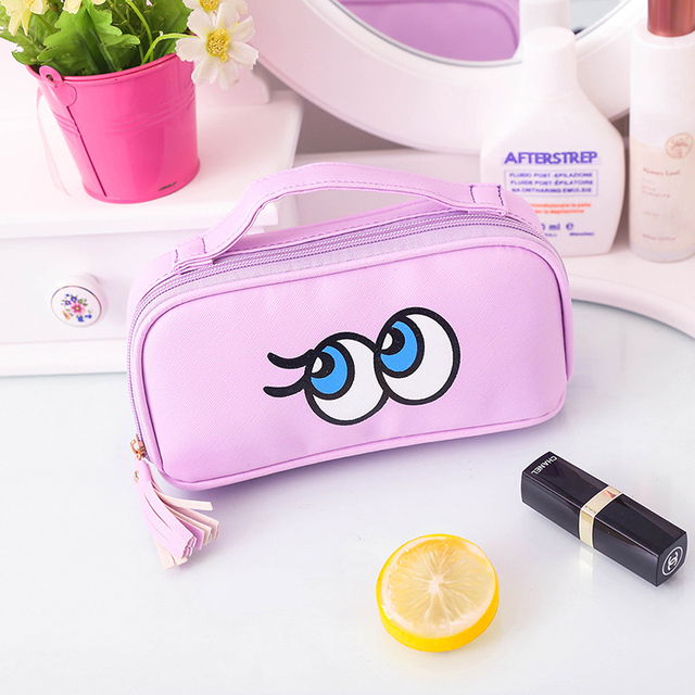 New Fashion Brand Cosmetic Bags 2017 Hot-selling Women Travel Makeup Case Cartoon Eyes portable makeup organizer