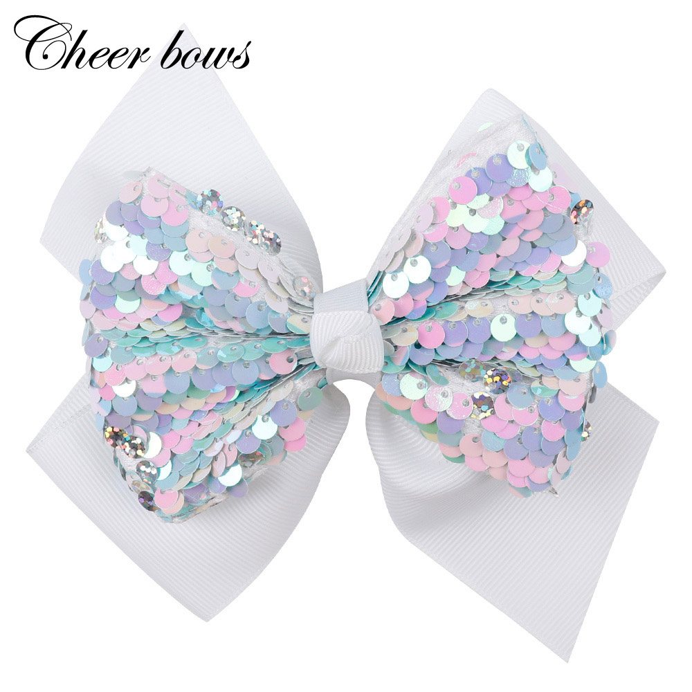 5 Inch Big Colorful Sequin Hair Bows For Girls Shiny Rhinestone Kids Hairgrips Hair Clip New Year Festival Hair Accessories
