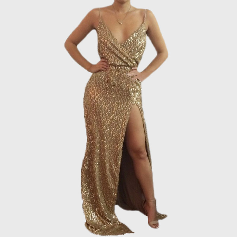2016 Fashion Gold Sequin Dress Women Sexy Neck