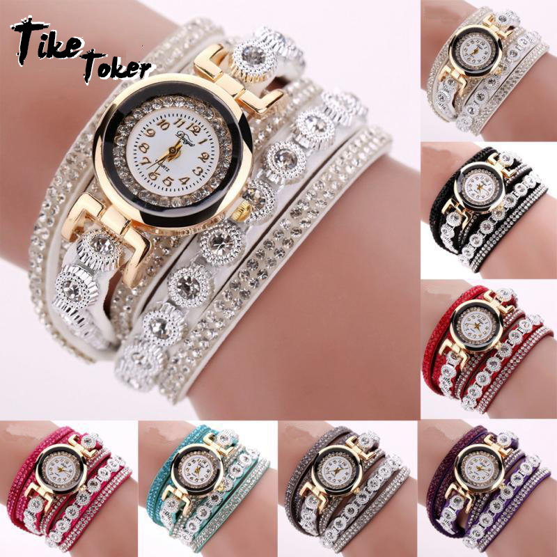 TIke Toker Fashion Luxe Strass Armband Horloge Dames Quartz Horloge - Herenhorloges