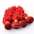 Dream loja aliexpress venda quente feixes de cabelo brasileiro virgem do cabelo vermelho cor popular 4 pçs/lote.