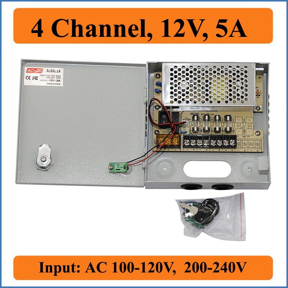 4CH Port DC12V 5A CCTV Power Box Caméra Alimentation à découpage pour Vidéo surveillances caméra système 4 canal AC100-240V Entrée
