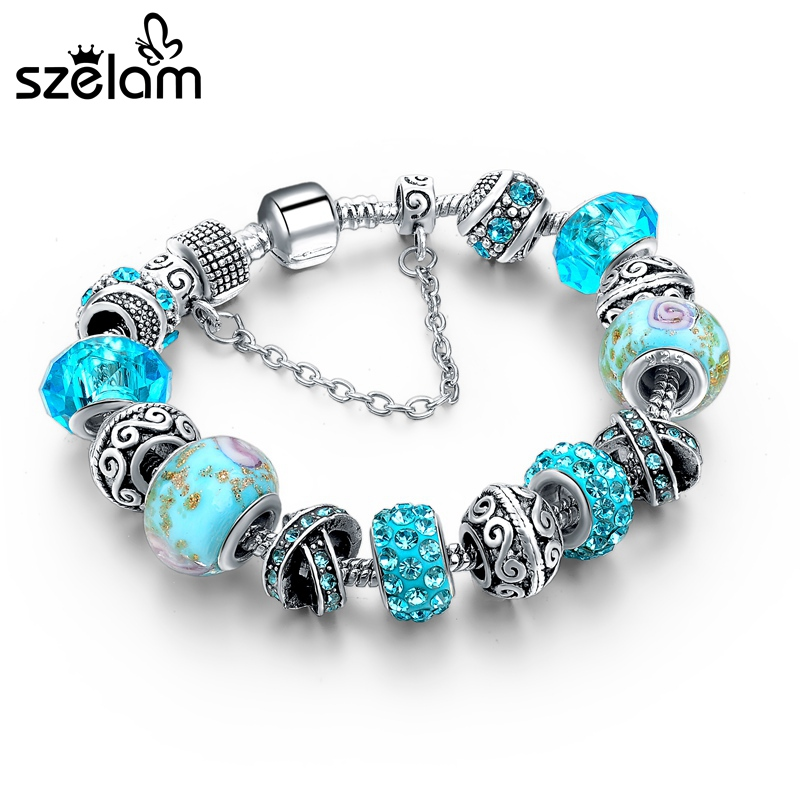 Szelam Schmuck Europäischen Charme Armbänder Für Frauen 925 Silber Kette Armbänder & Armreifen DIY Schmuck Pulseras SBR160158
