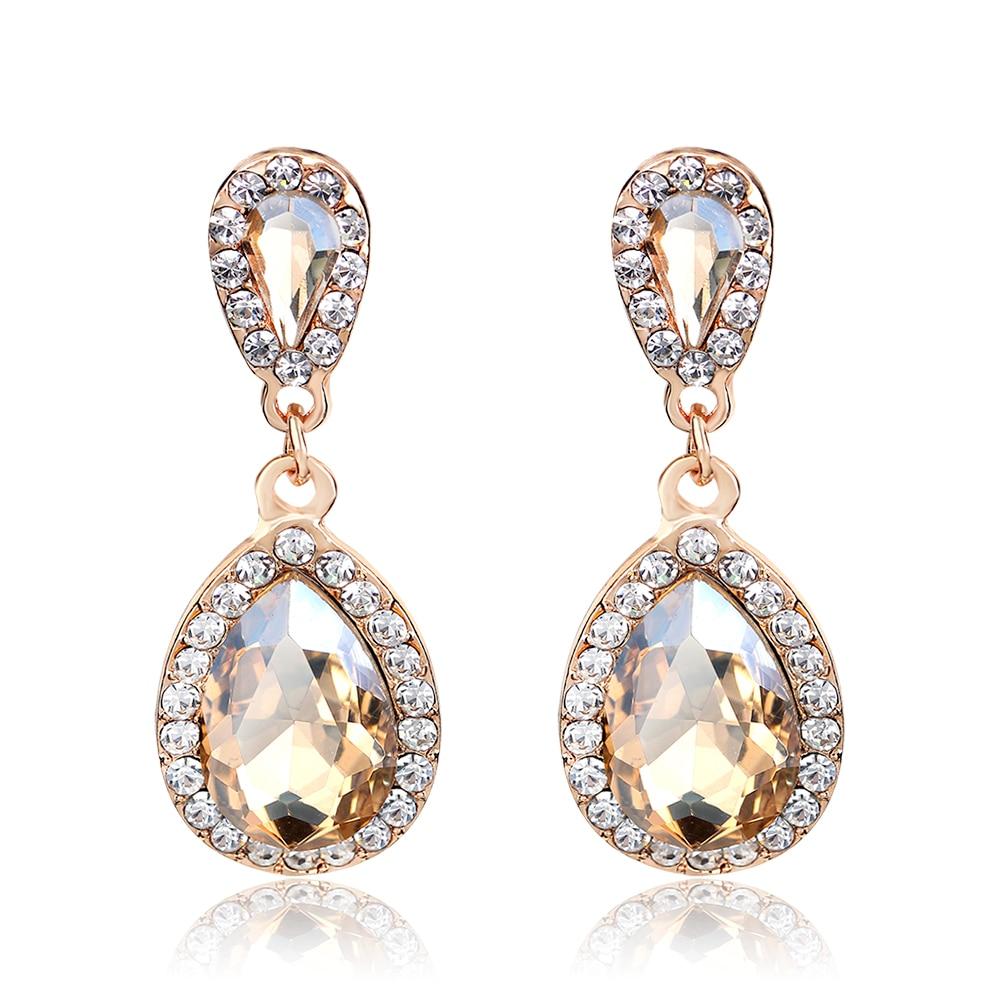 2017 Drop Earrings for Women Fashion Glass Costume Jewelry Earrings With Stones Rhinestone Dangle Fringe Earrings Female