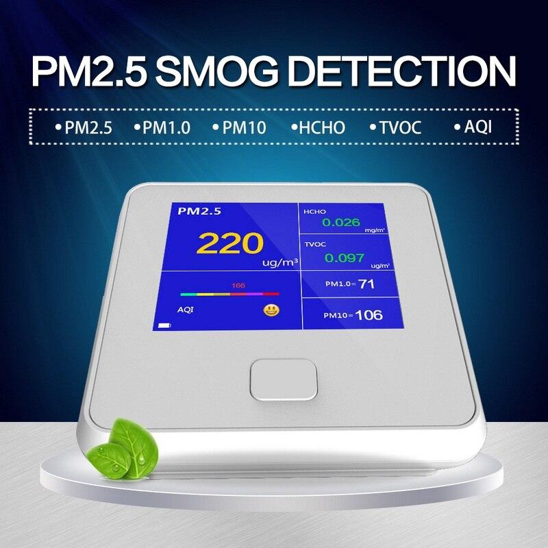 PM2.5 Gaz Testeur Détecteur D'air Capteur De Gaz Portables Calibrage Intelligent PM2.5 PM10 PM1.0 HCHO Air Qualité Moniteur Analyseur De Gaz