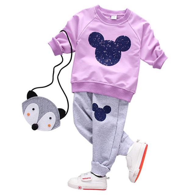Chicas juegos de ropa de Dibujos Animados de primavera traje casual 2017 moda para niños ropa de algodón de dos piezas de manga larga T-shirt shirt + pant