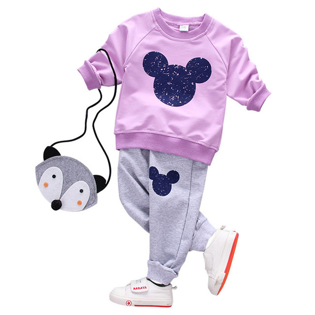 Girl clothing sets children spring Cartoon casual outfit 2017 fashion kids cotton two piece set long sleeve clothes T-shirt+pant