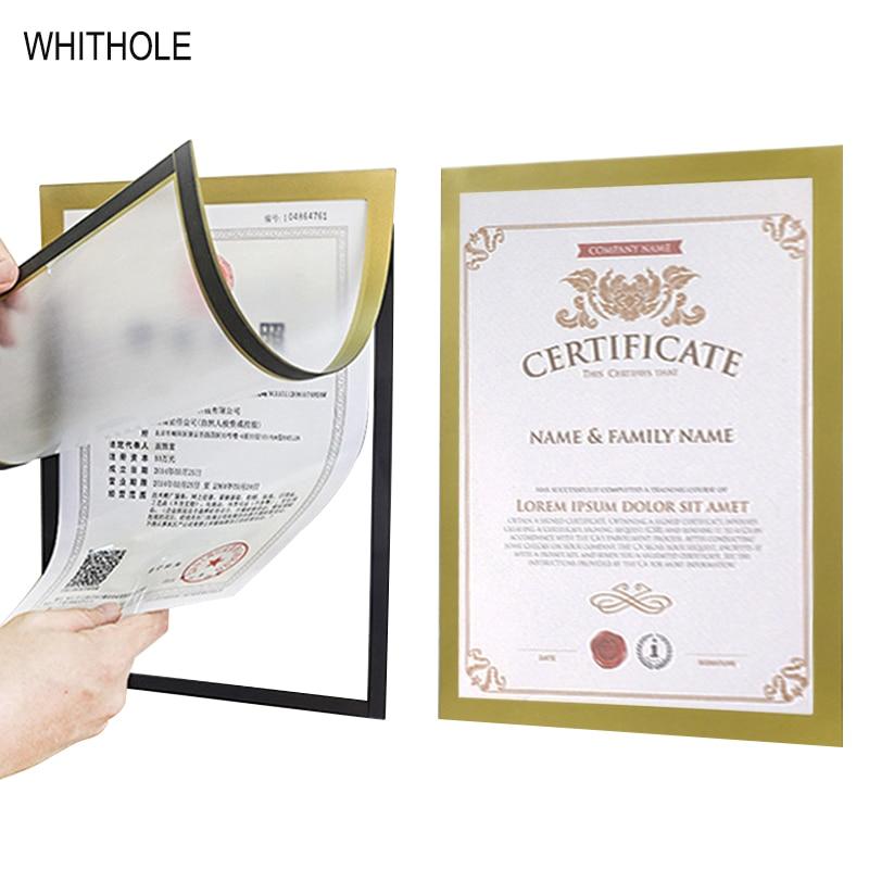 Магнитный самоклеящийся резиновый постер наклейка для рамок золото черный серебристый A3 A4 офисный магазин фото сертификаты рамка