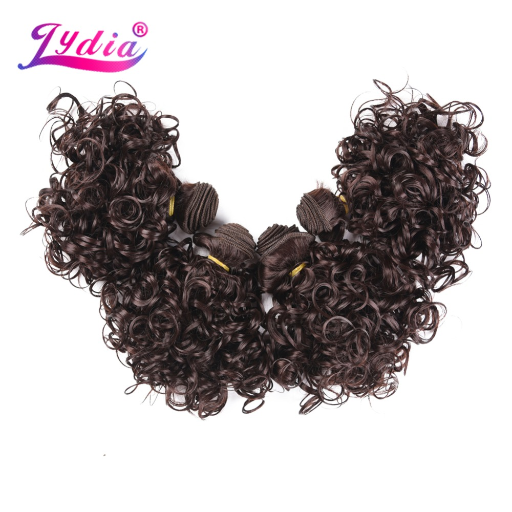 Лидия 4 шт./лот синтетические Короткие вьющихся волос 12 дюймов двойной утка волны для Для женщин пучки волос темно-коричневый ткачество ...
