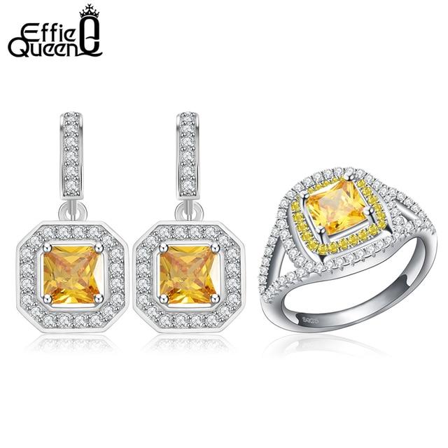 Effie queen thiết kế sang trọng đồ trang sức thời trang màu vàng pha lê áo zircon ring/earrings jewelry sets đối với phụ nữ cưới baby ws61