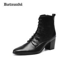 Batzuzhi Boots Men 6.8CM High Heel Cowhide Genuine Leather Men Boots Black Lace-up Zapatos Hombre zapatos de hombre Knight Boot zyyzym men boots leather plus size knight boots man lace up men ankle boots brithsh motorcycle boots for men zapatos de hombre