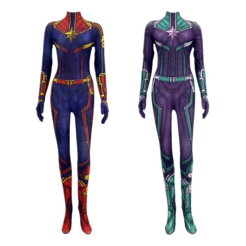 Captain Marvel Carol Danvers Cosplay Ms Marvel Costume Zentai Superhero Bodysuit Suit Jumpsuits Women Girls