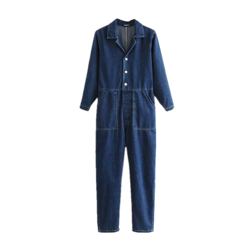 Women Denim Blue Jumpsuit Long Sleeve Button Front Back Pockets Rompers Female Casual Loose Jeans Playsuit
