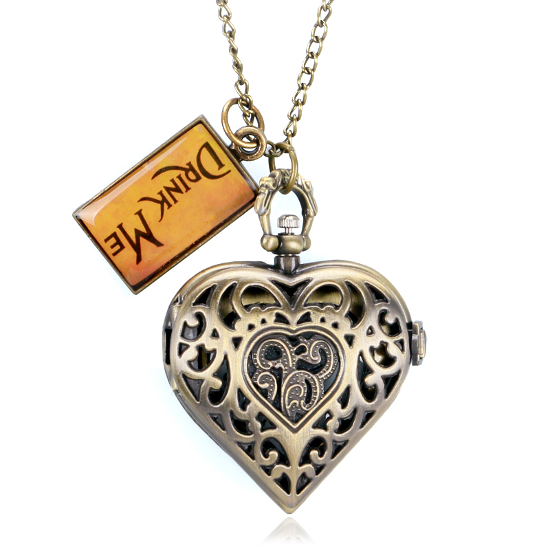 YISUYA Pocket Watch Women Lady Girl Xmas Lover's Gift Bronze Hollow Heart Shape Drink Me Alice In Wonderland Necklace Pendant alice in wonderland drink me tag rabbit quartz pocket watch gift set pendant necklace fob chain with gift box for women mens