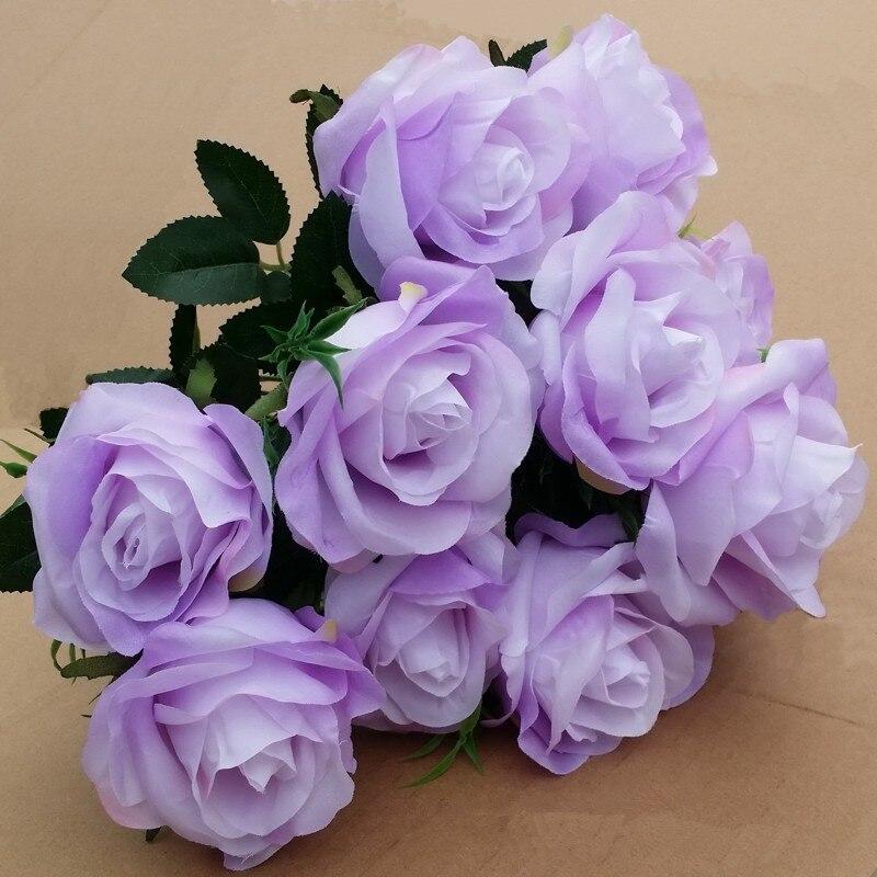 purple flower plastic artificial rose bouquet flower silk fake