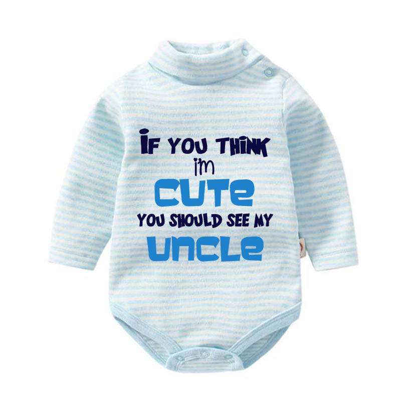 Culbutomind If You Think I Am Cute You Should See My Uncle Aunt Newborn Striped Baby Bodysuit